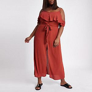 Plus – Robe longue caraco rouge boutonnée avec volant