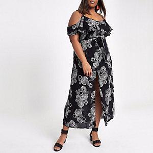 Plus – Robe longue à imprimé spirales noire avec épaules dénudées