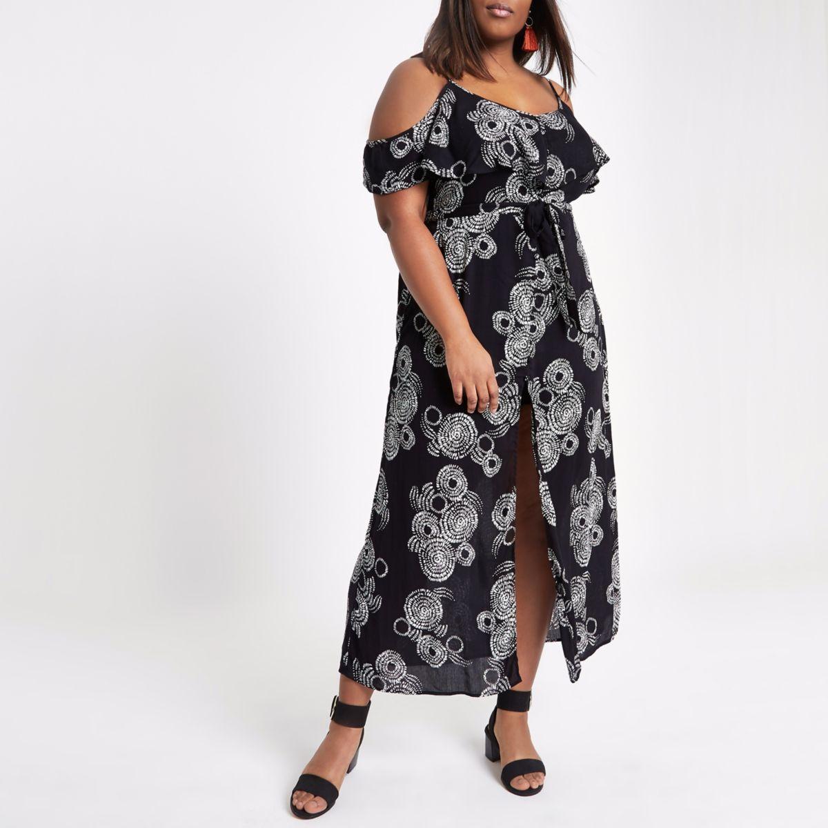 Plus black swirl cold shoulder maxi dress