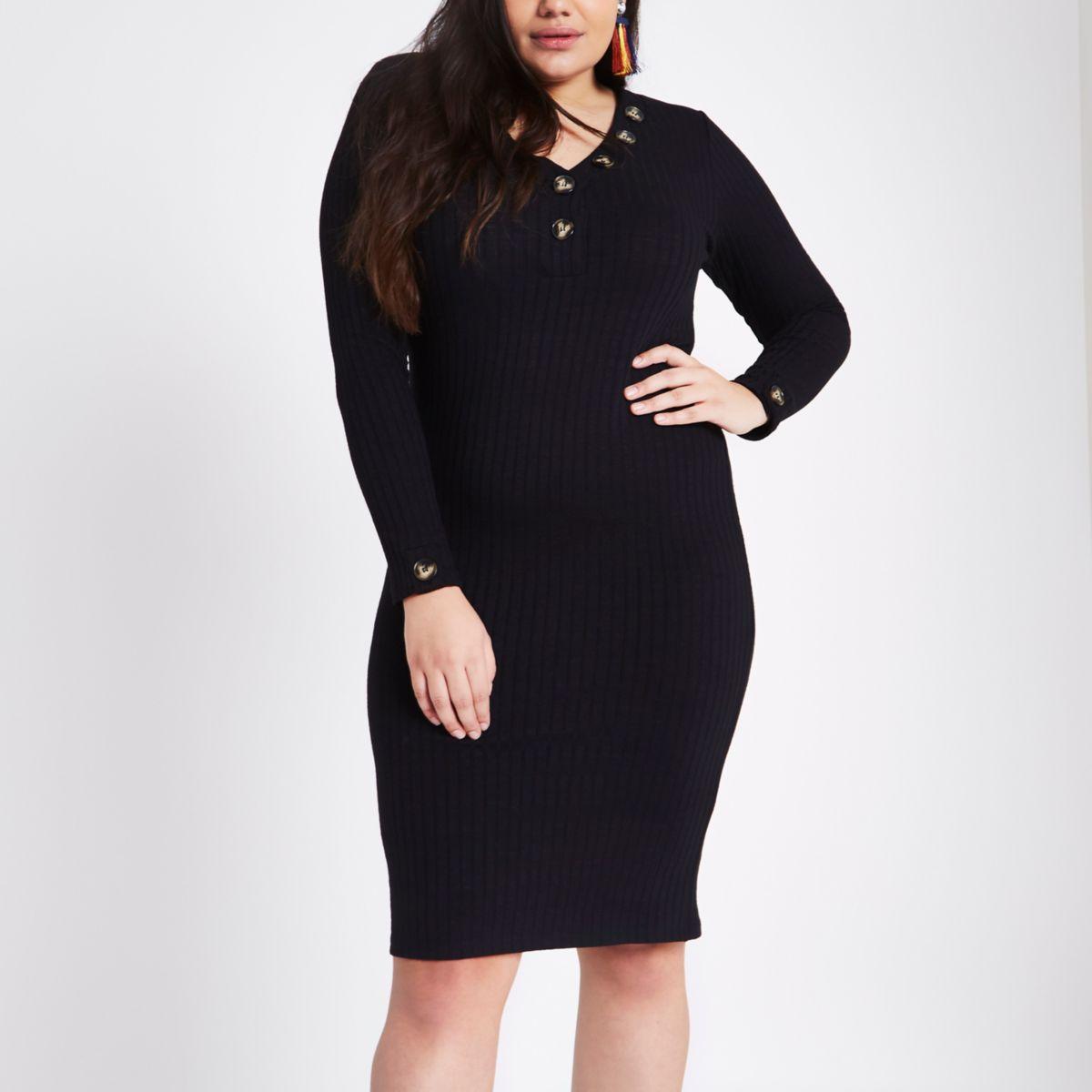 Plus black rib V neck button midi dress