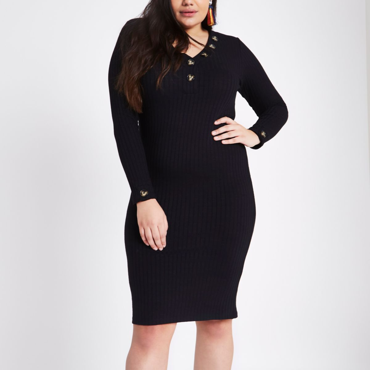 Plus black rib V neck button midi dress