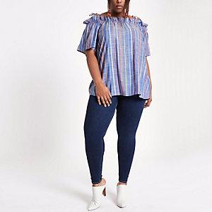 Plus blue stripe bow cold shoulder top