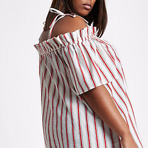 Plus cream stripe bow cold shoulder top