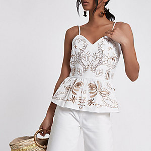 White brown embroidered peplum hem cami top