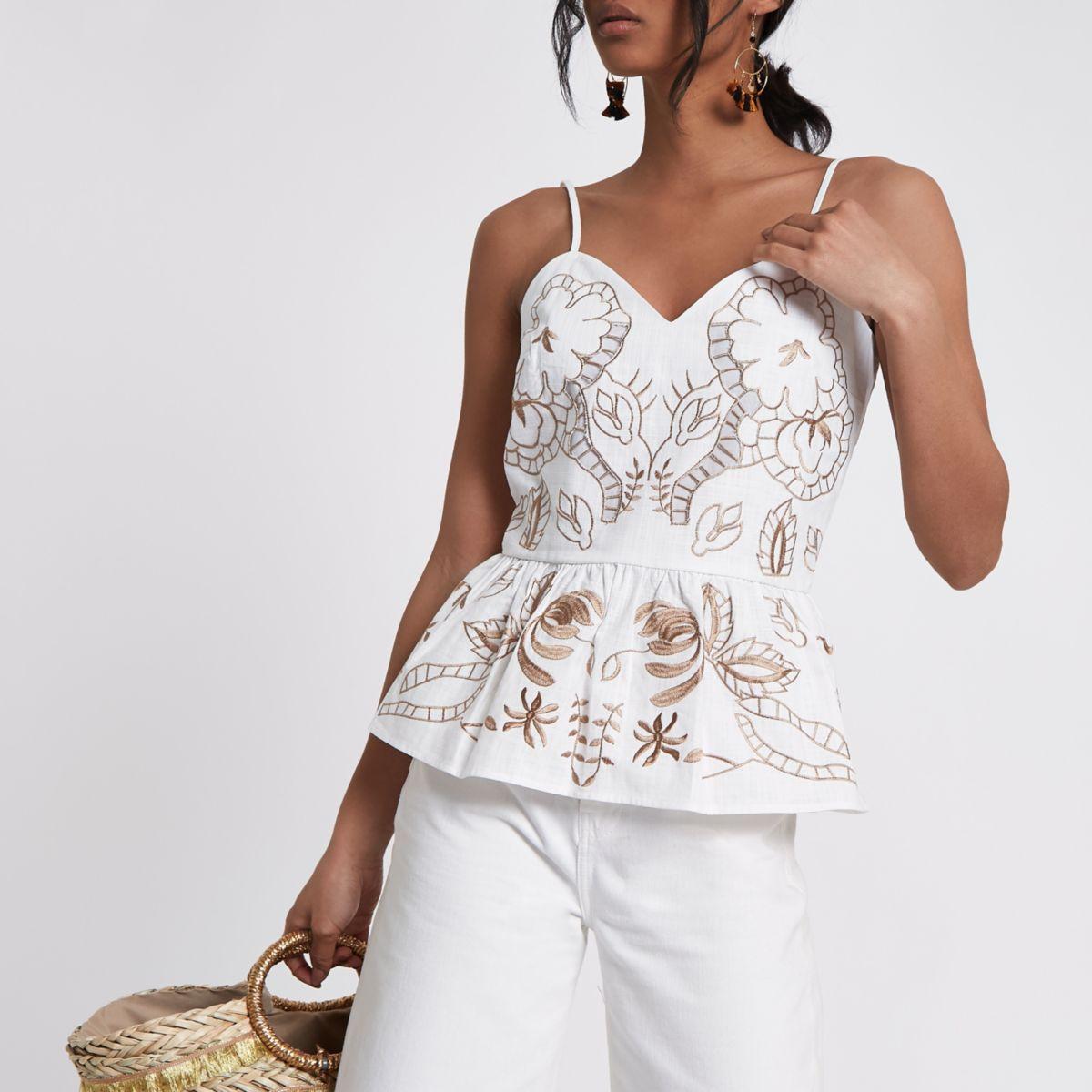 White brown embroidered peplum hem cami top