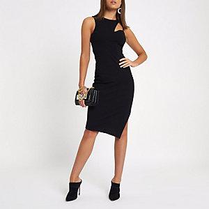 Zwarte bodycon midi-jurk met uitsnede in de hals