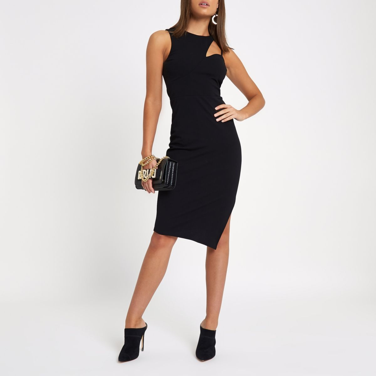 Black cut out neck bodycon midi dress