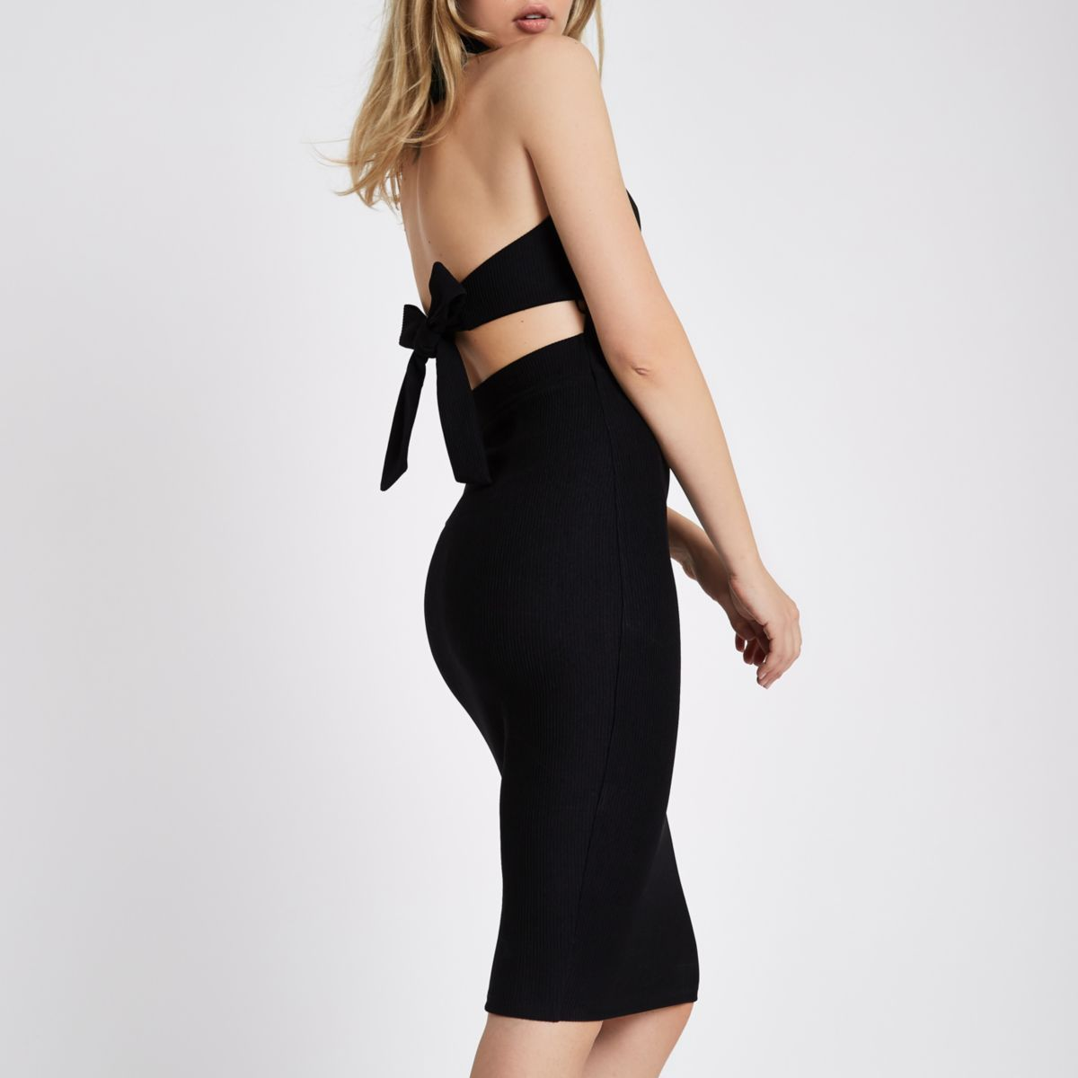 Black ribbed high neck tie back midi dress
