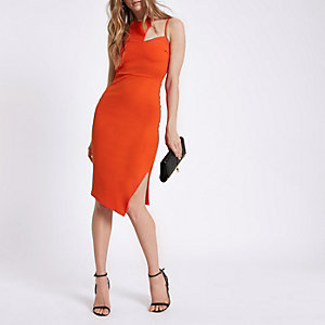 Orange cut out neck bodycon midi dress