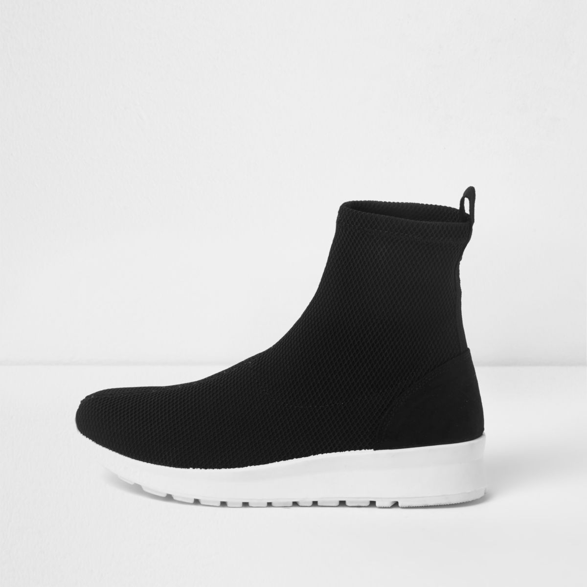 Black contrast sole sock trainers