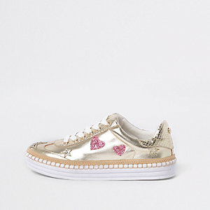 Gold metallic star chunky espadrille trainers