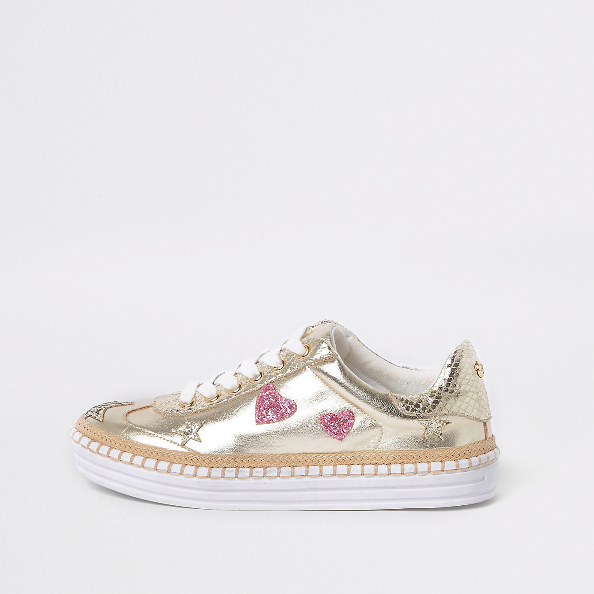 Gold metallic star chunky espadrille sneakers