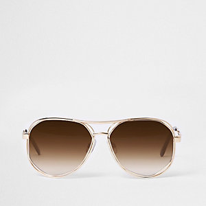 Gold tone hexagon aviator sunglasses