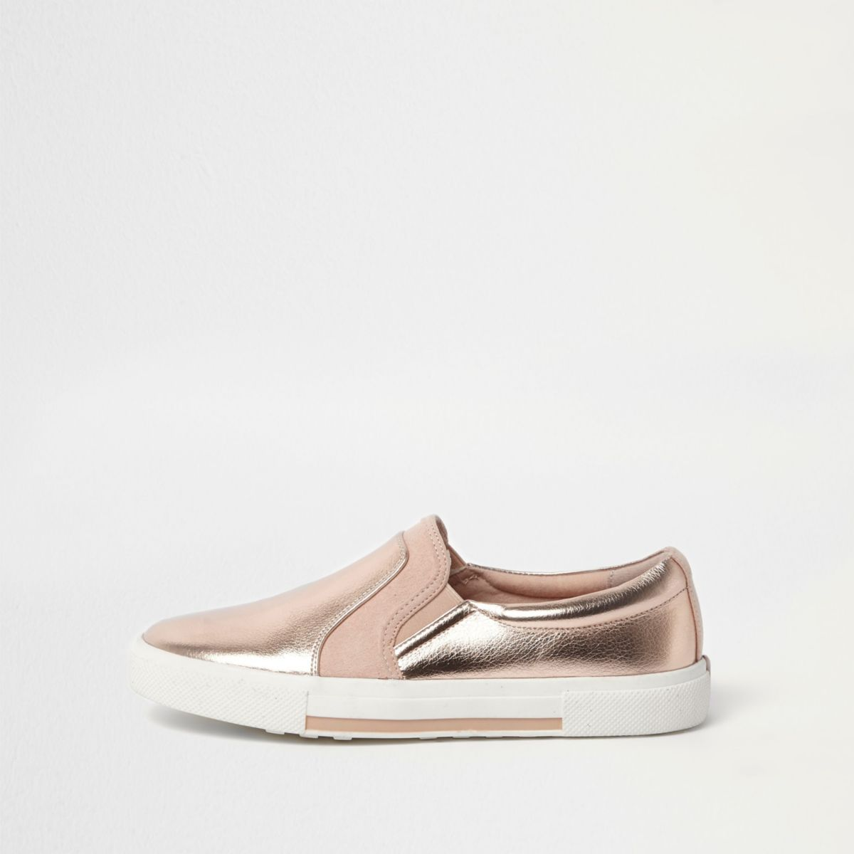 Rose gold metallic slip on plimsolls