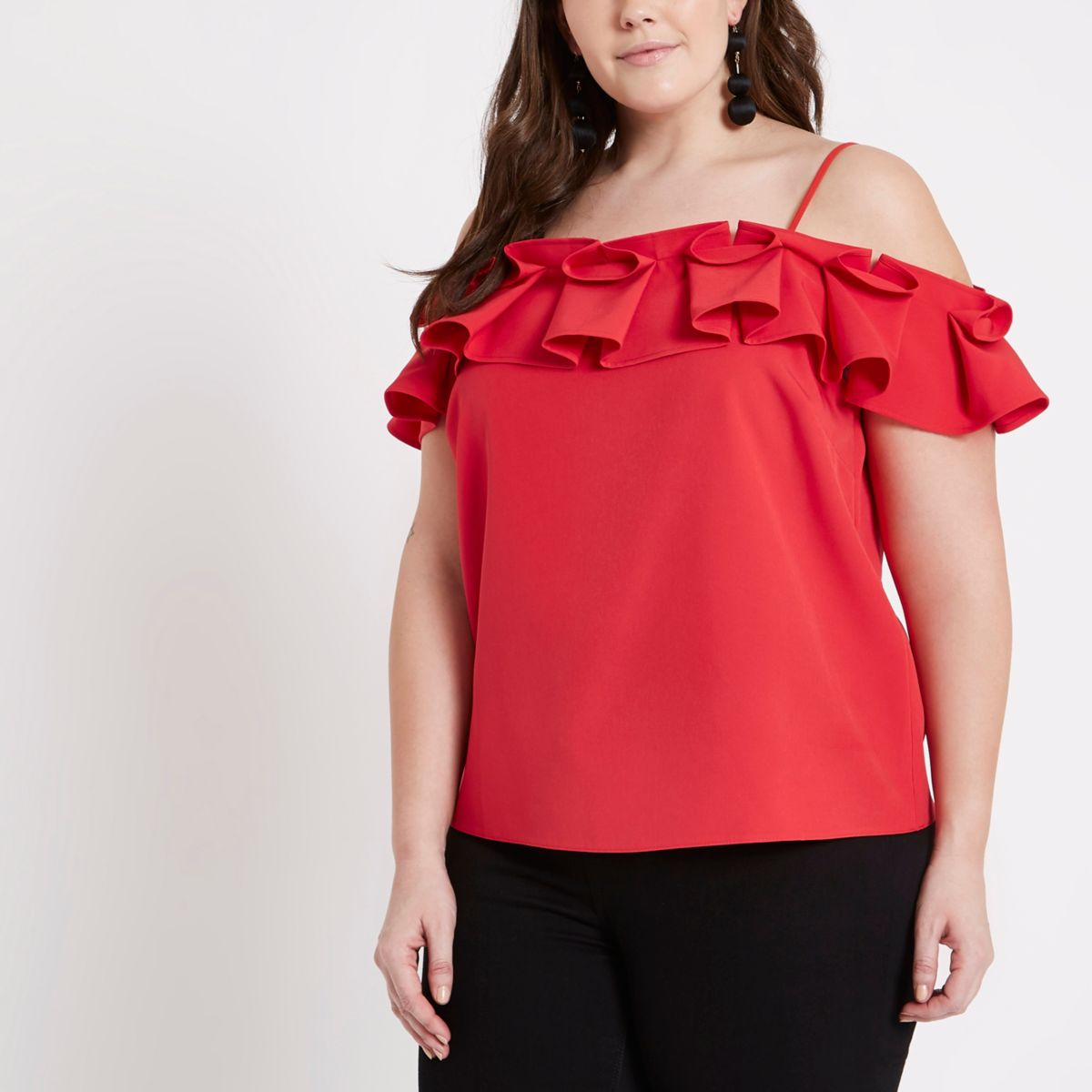 Plus red frill neck cold shoulder top
