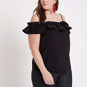 Plus black bardot frill cami top