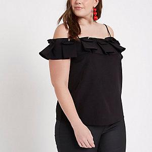 Plus black bardot frill cami top