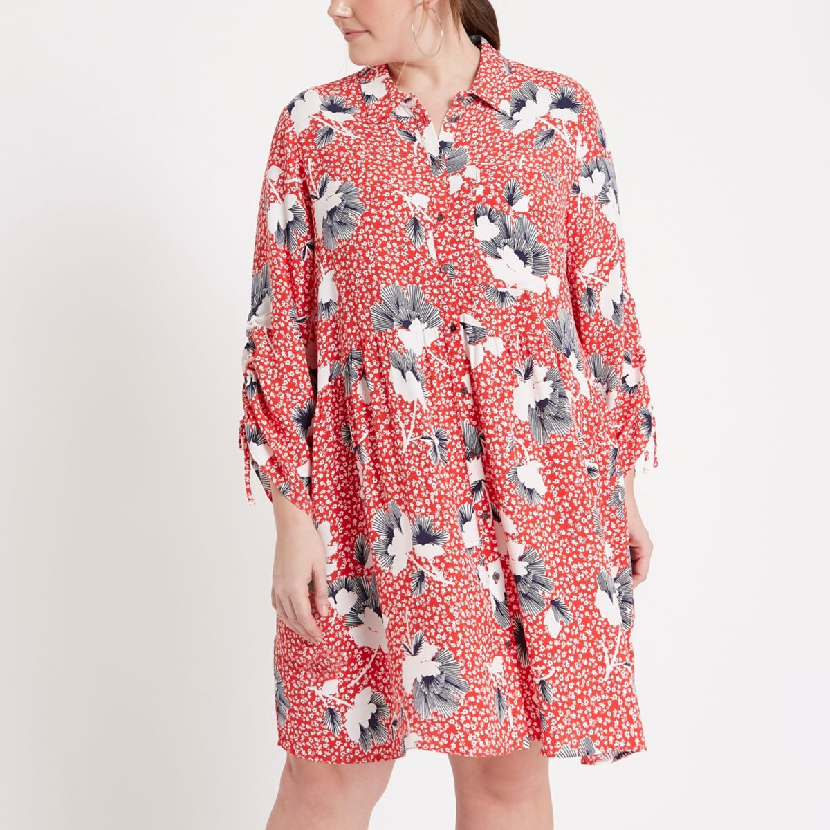 Red ditsy ruched shirt dress