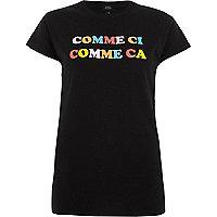 Zwart T-shirt met 'comme ci'-glitterprint