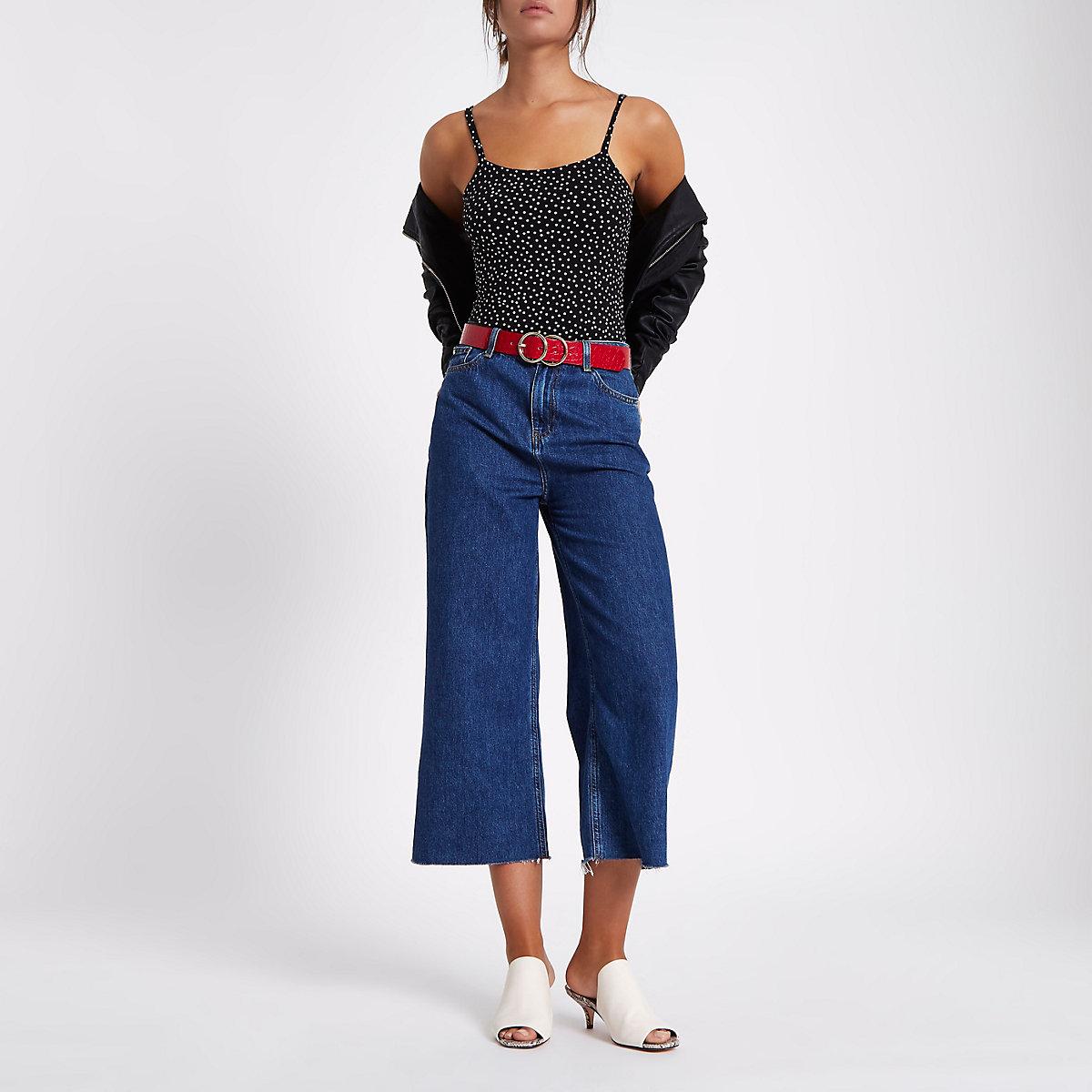 Black polka dot square neck cami bodysuit
