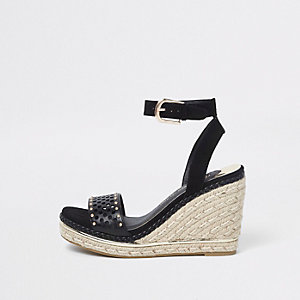 Black laser cut studded espadrille wedges