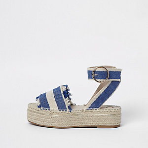 Blue stripe espadrille platform sandals
