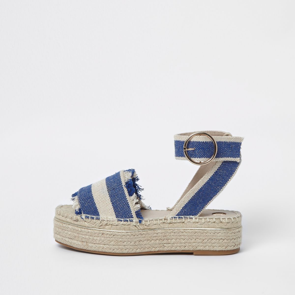 Blue stripe espadrille platform sandals