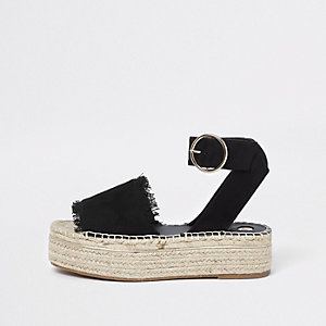 Black espadrille platform sandals