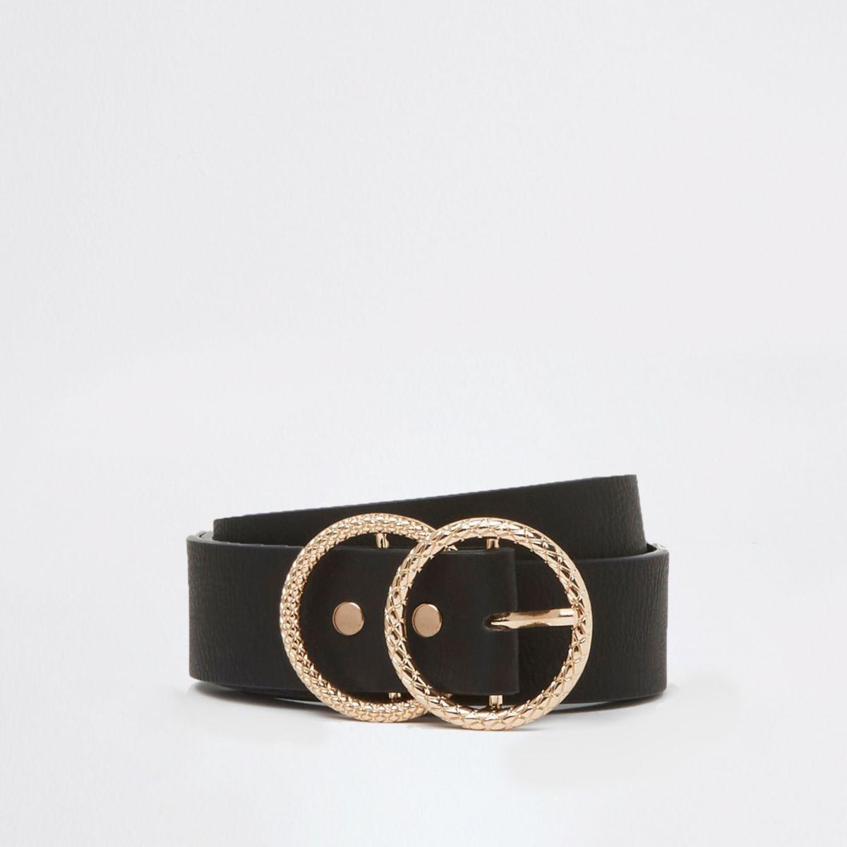Black textured double buckle jeans belt