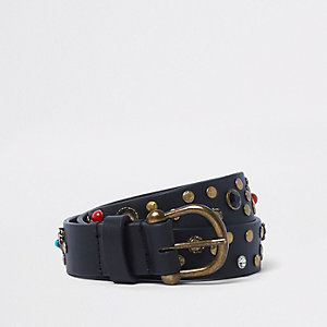 Brown leather stone studded belt