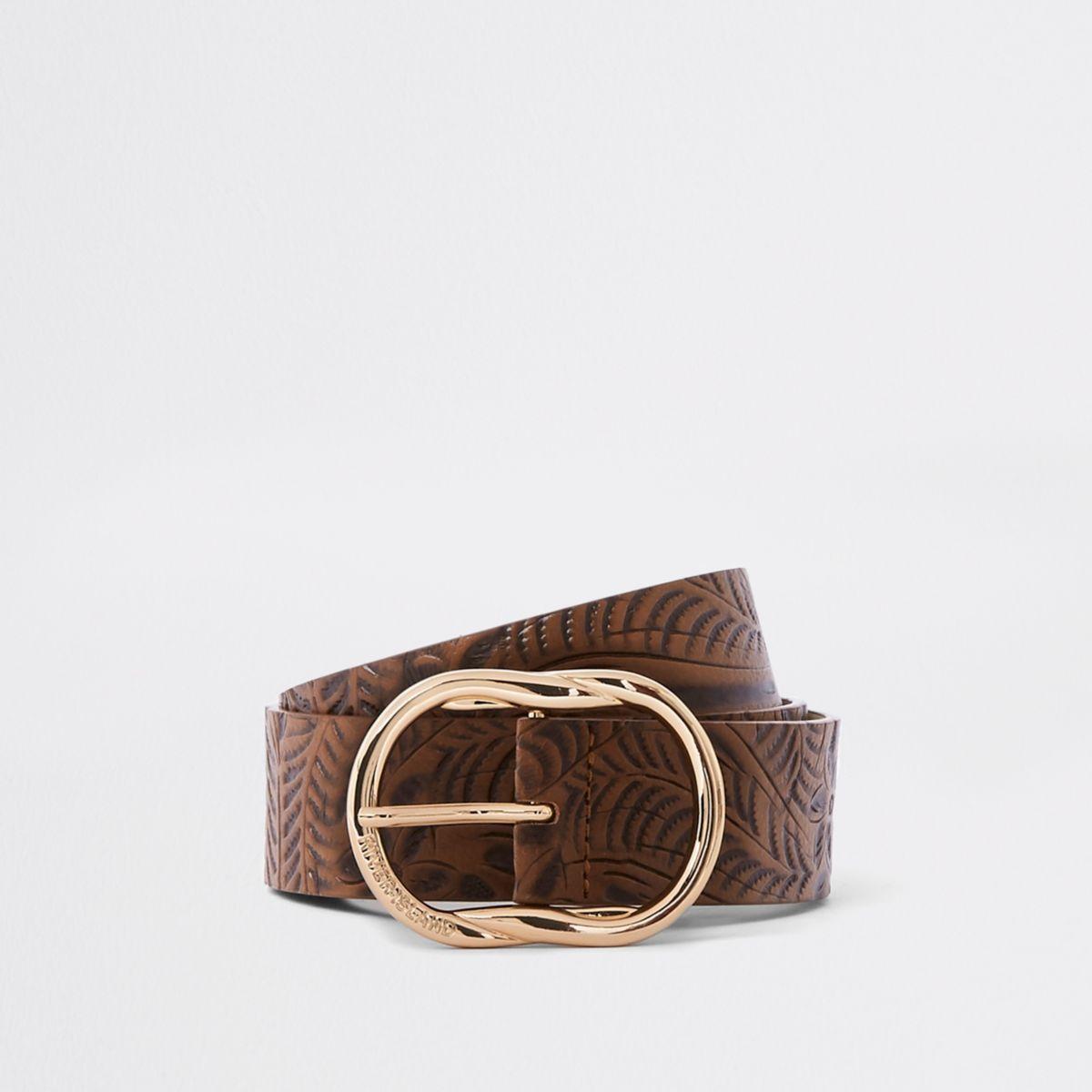 Brown floral embossed oval belt