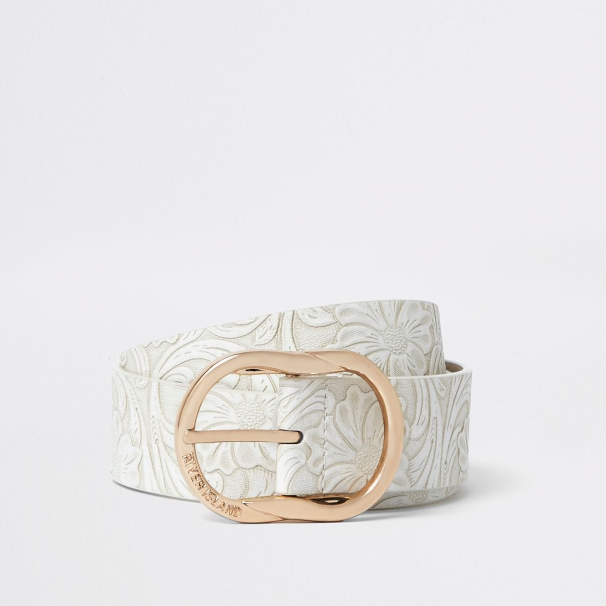 White floral embossed texture jeans belt