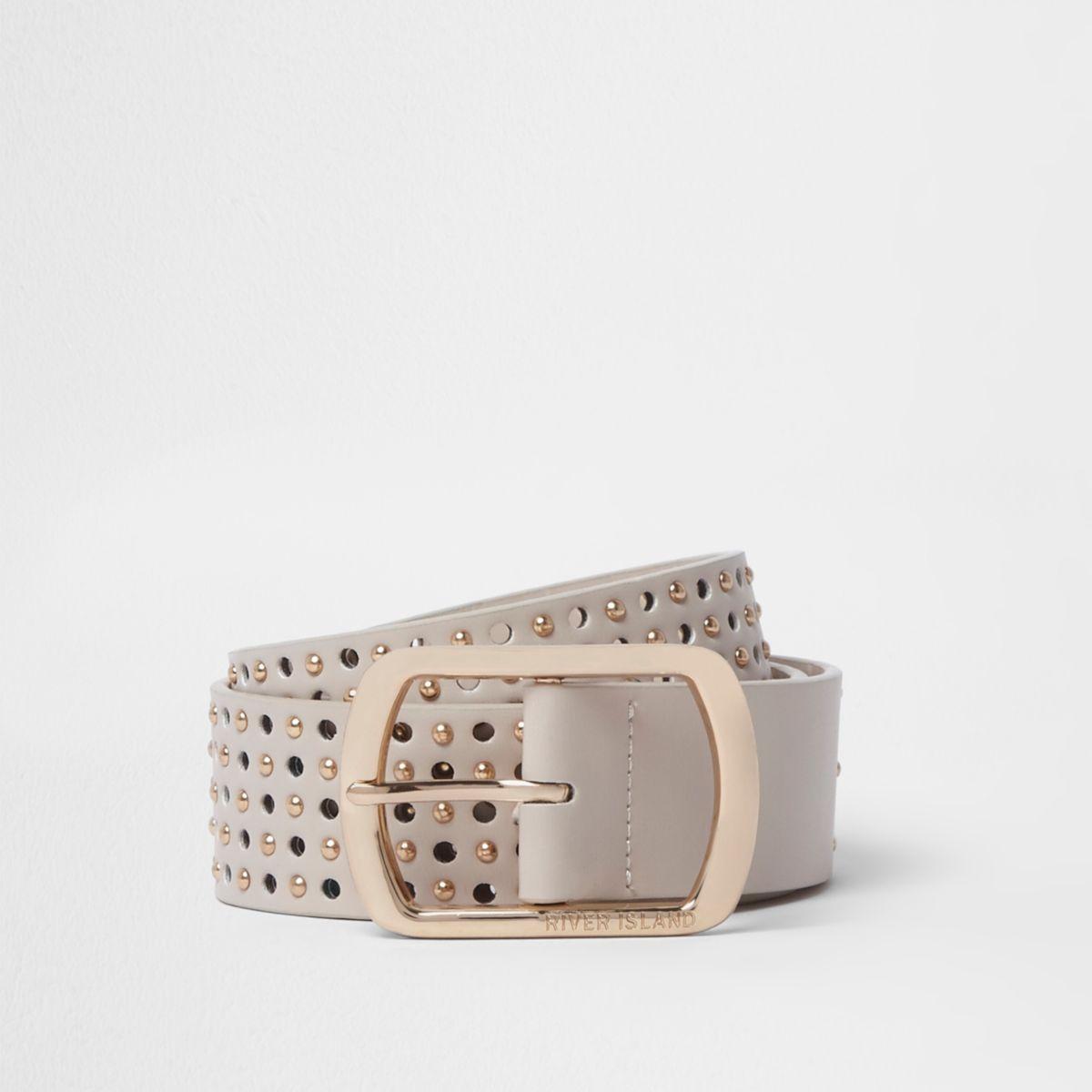 Beige punched studded belt