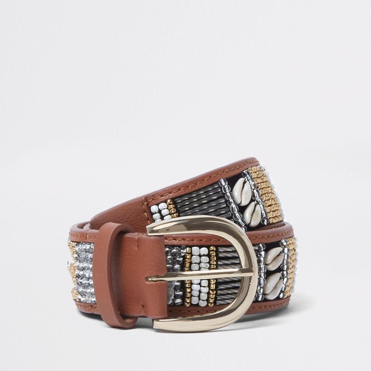 Tan leather seedbead shell jeans belt