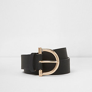 Zwarte jeansriem met stijgbeugelvormige gesp