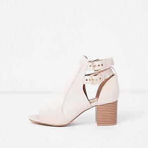 Cream double buckle block heel shoe boot