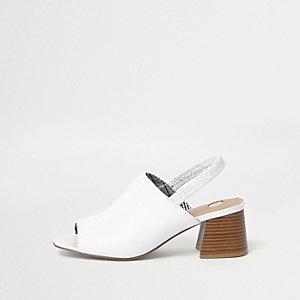 White sling back block heel mules