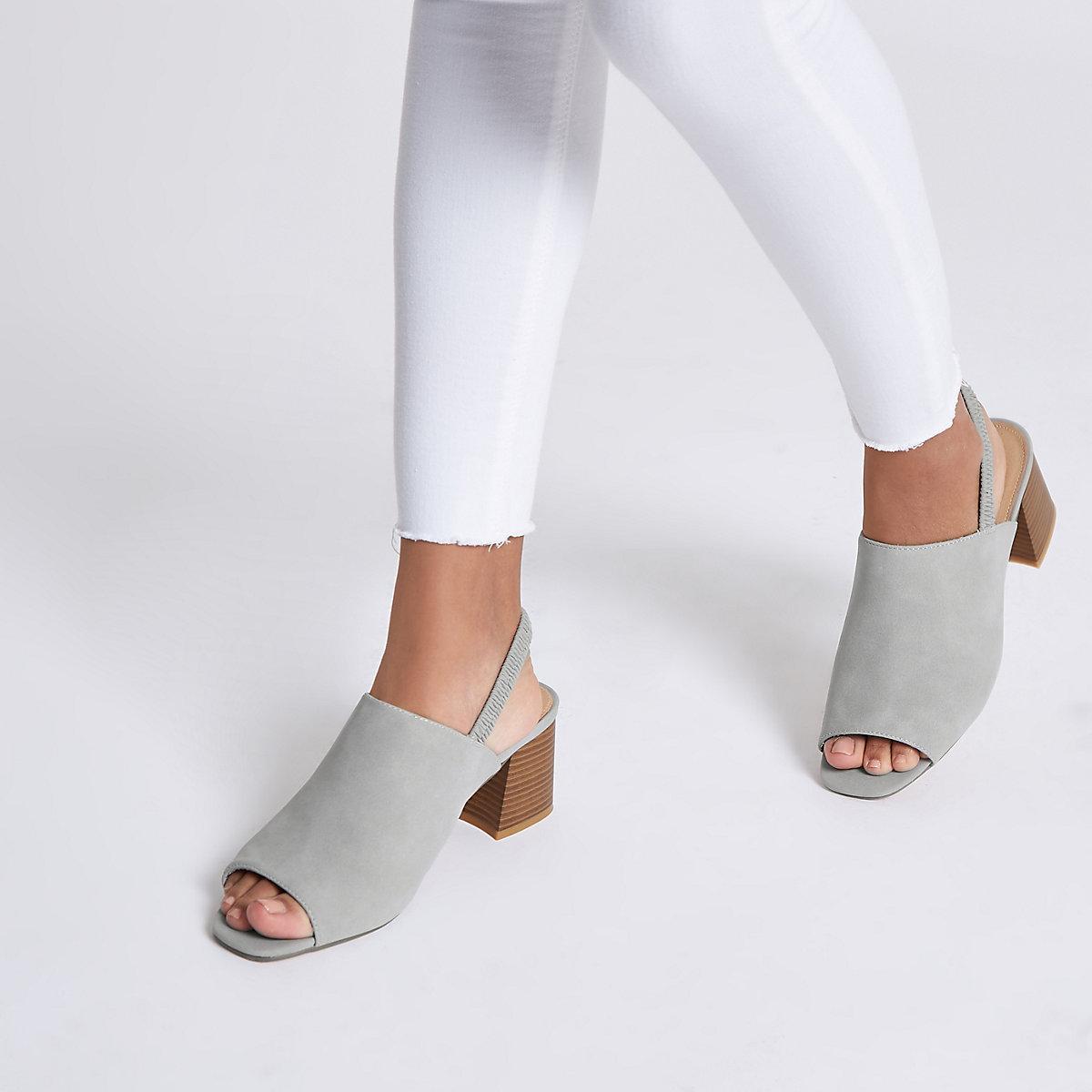 Grey sling back block heel mules