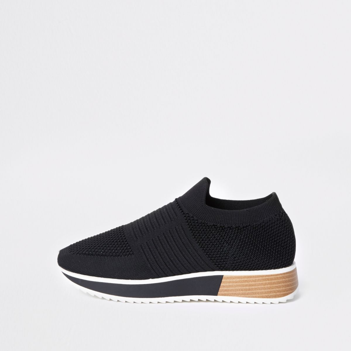 Black knitted runner trainers