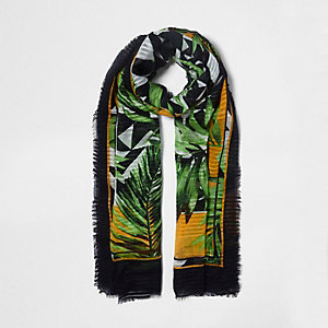 Green geo palm long scarf