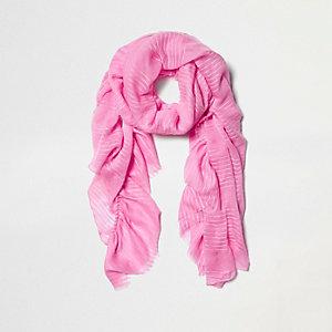 Roze gestreepte jacquard sjaal met ruches