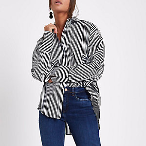 Black stripe ruched sleeve shirt