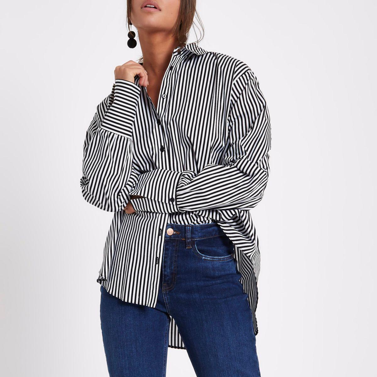 Black stripe ruched sleeve shirt
