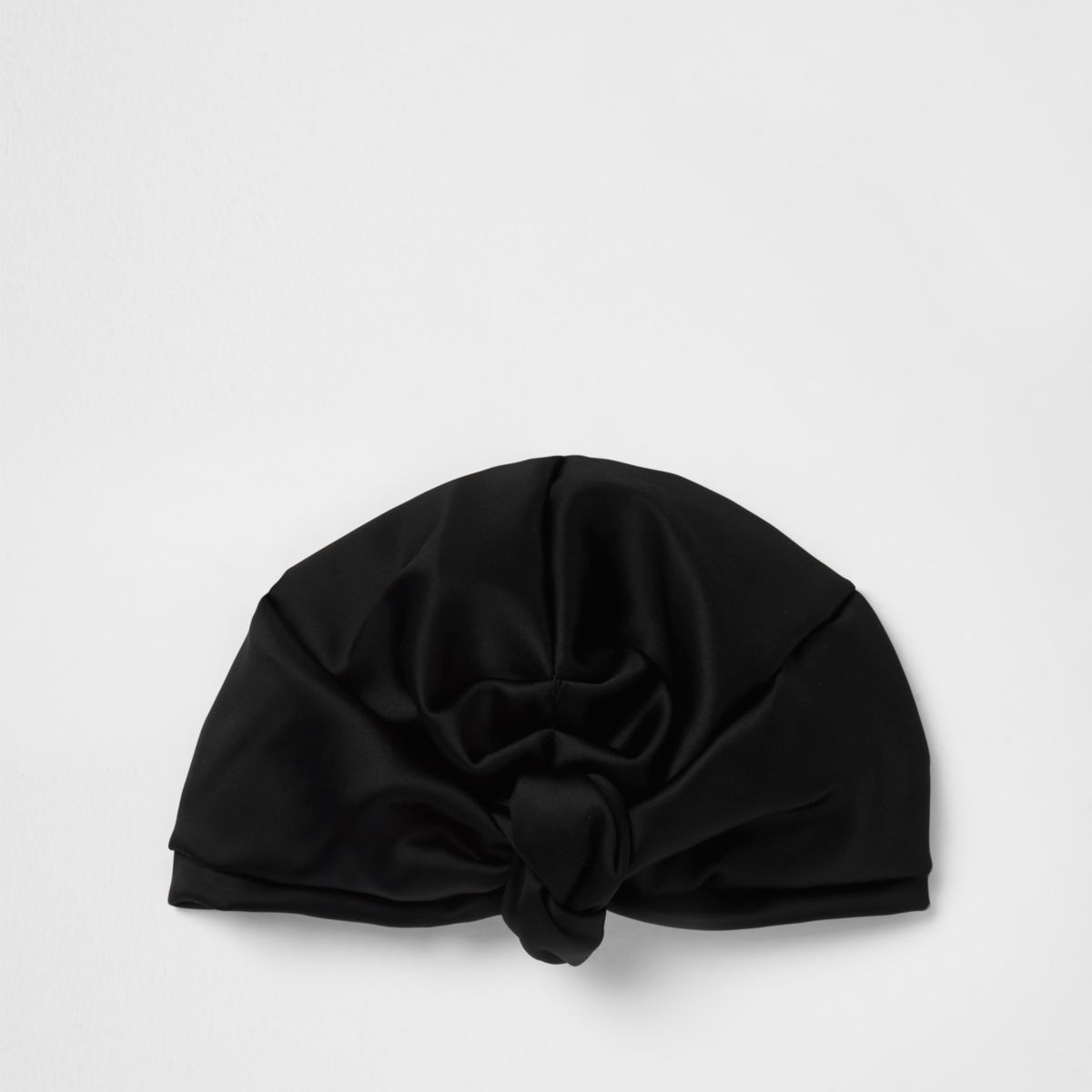Black satin turban hat