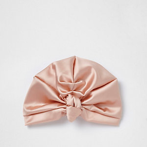 Pink satin turban hat