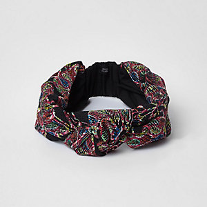 Black embroidered knot headband