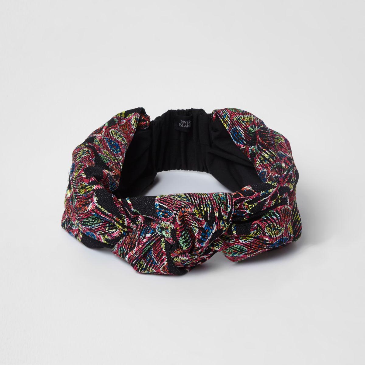 Black embroidered knot headband