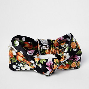 Black orange fruit knot front headband