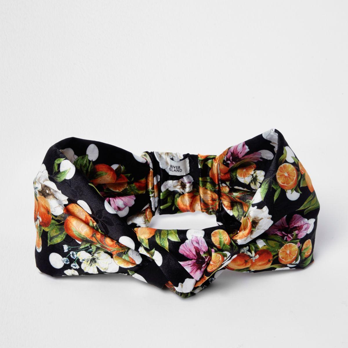 Black orange fruit knot front headband