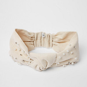 Cream knot front embellished headband